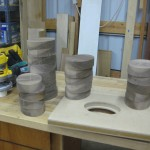 Shaped and sanded Walnut blanks, ready for glue-up to Beech and Padauk layers