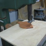 Rough-cutting Padauk sections
