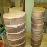 3-layer blanks after router-trimming Padauk and Beech layers