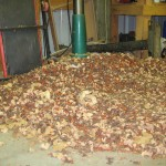 Big pile of wood chips underneath drill press