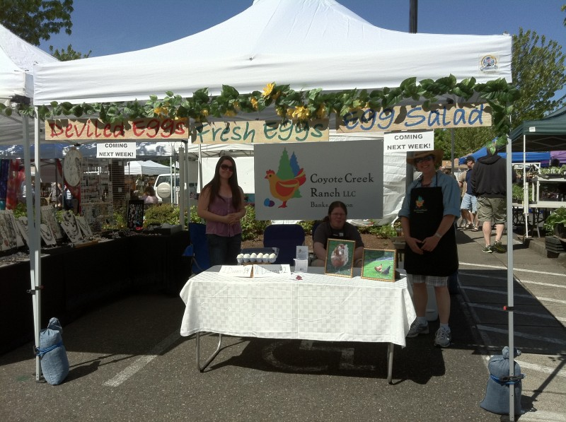 The new booth for the Farmers' Market, all set up!