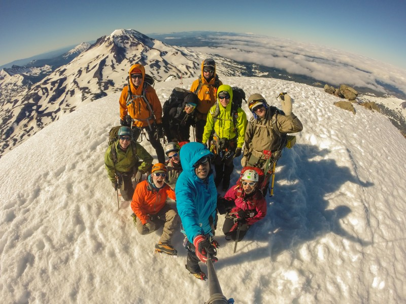 Cool fisheye lens photo taken by another team member with his GoPro; South Sister in the background.  We could see as far as Mt. Shasta