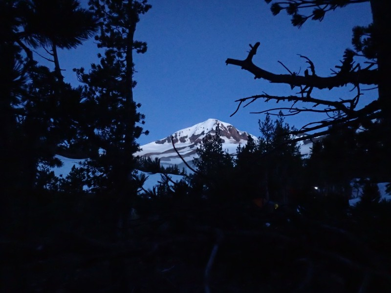 The view of North Sister from my tent at 4 AM the next  morning shows the forecast was accurate