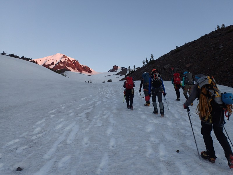 We head up the Hayden Glacier.  Middle Sister is the summit to the left, already in sunlight
